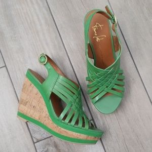 Franco Sarto green leather strappy wedge sandal